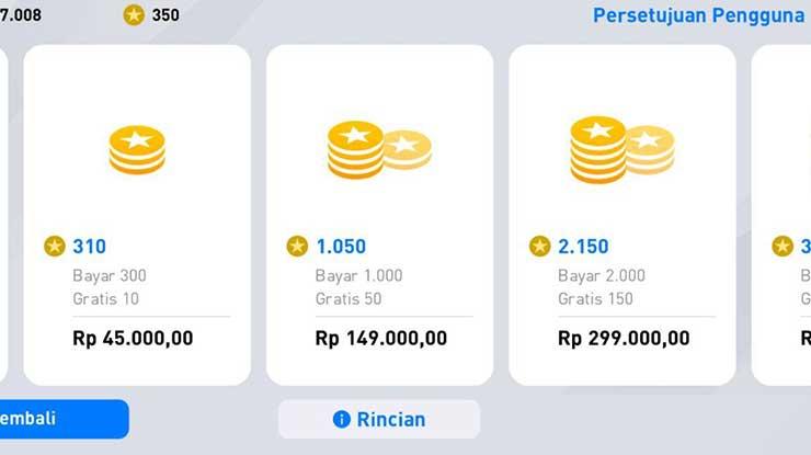 Harga Paket Koin MyClub PES 2020 Mobile