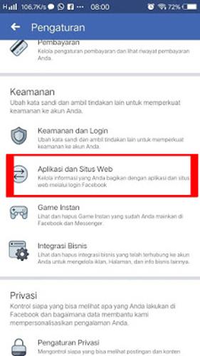 Pilih Aplikasi dan Situs Web