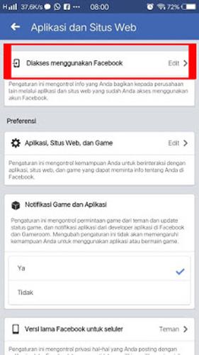 Pilih Dikses menggunakan Facebook
