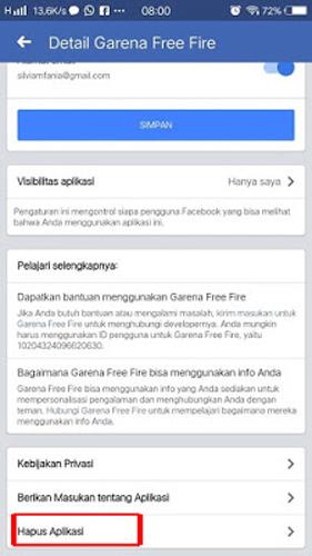 Pilih Hapus Aplikasi