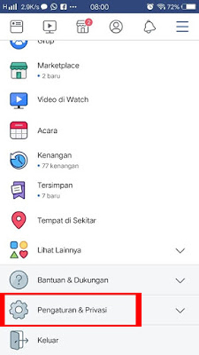 Pilih Menu Pengaturan Privasi