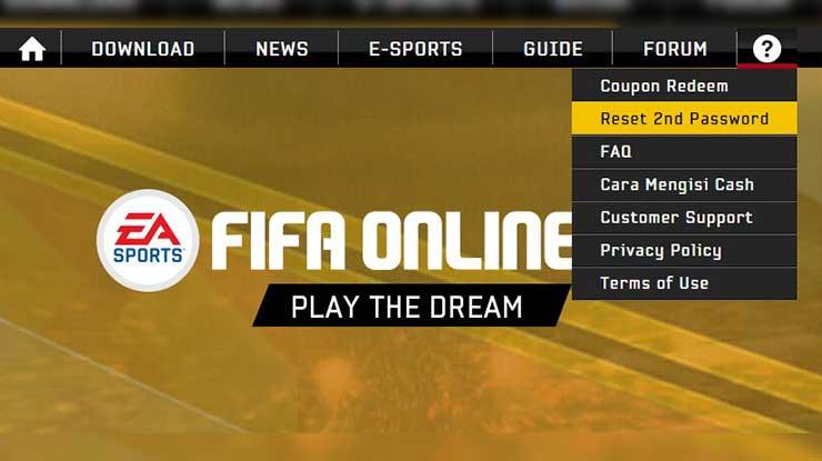 Cara Reset Password Ke 2 FIFA Online 3