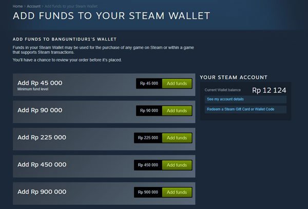 3. Mengisi Saldo Steam