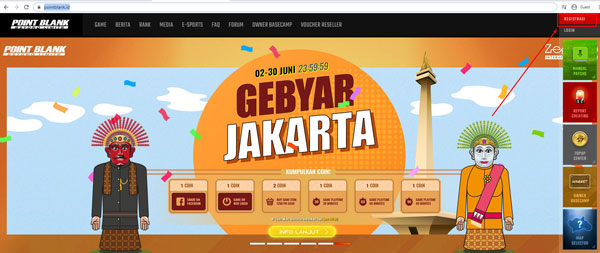 3. Pilih menu Registrasi yang berada di halaman utama website pointblank