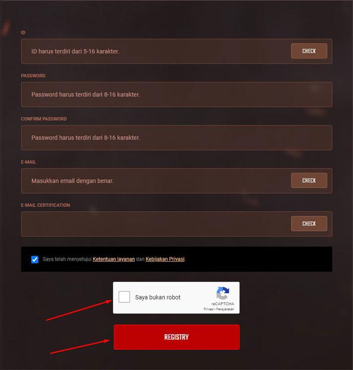 5. Tinggal kamu isi dan lengkapi formulir pendaftaran dari nama ID Password Confirm Password dan Email setelahnya baru centang