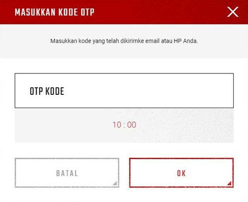 6. Setelah mengetahui atau mendapatkan kode OTP yang dikirimkan ke email maka kamu masukkan kode OTP tersebut ke form OTP Kode dan klik OK