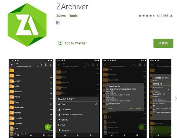 1. Pertama silahkan instal terlebih dahulu aplikasi ZArchiver