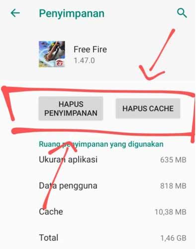 3. Hapus Data dan Cache