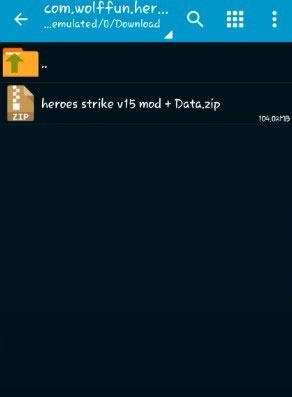 3. Kemudian pada folder Download cari file yang namanya Heroes Strike jika sudah ketemu tinggal klik file tersebut