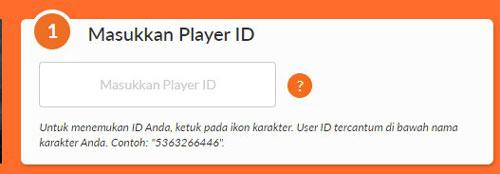 4. Masukkan player ID Free Fire sobat jika belum tahu cara mendapatkan player ID