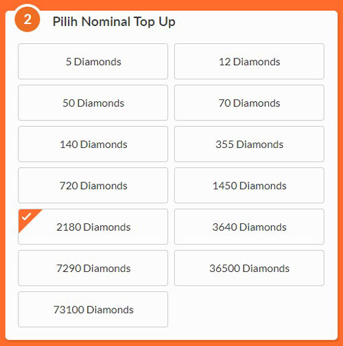 5. Pada menu Pilih Nominal Top Up sobat pilih 5 Diamonds untuk pembelian diamonds Free Fire 1000 rupiah