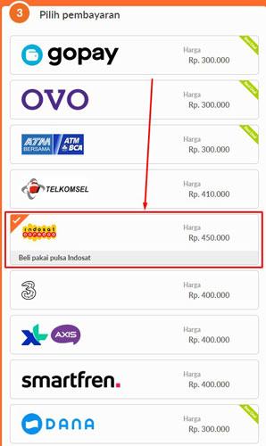6. Pada menu Pilih Pembayaran silahkan pilih provider Indosat