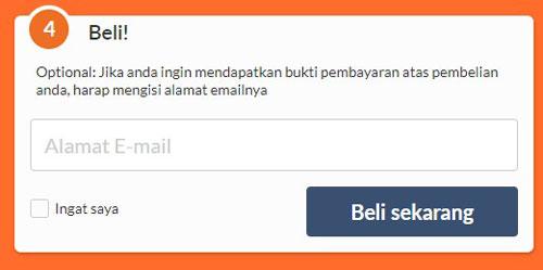7. Masukkan email sobat pada kolom beli untuk nantinya bukti pembayaran dikirimkan ke email tersebut