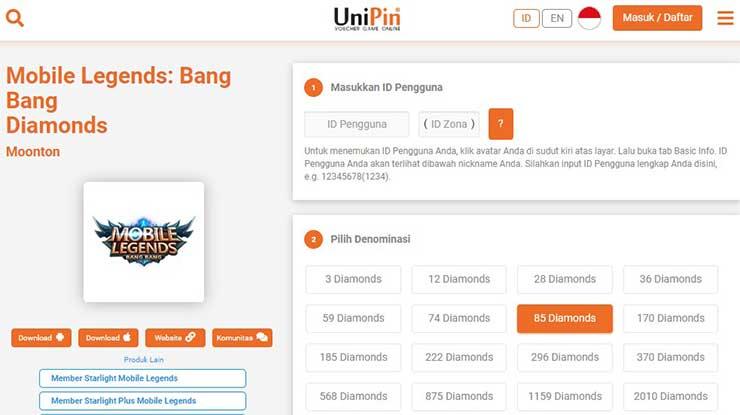 Cara Top Up Mobile Legend Lewat Unipin