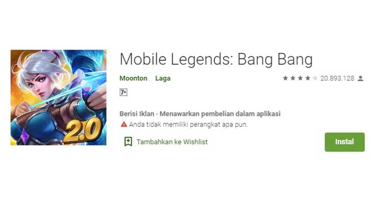 Download Install Game Mobile Legend di Google Play Store
