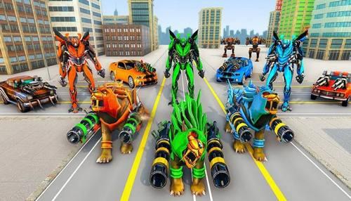 Lion Robot Car Transforming Games