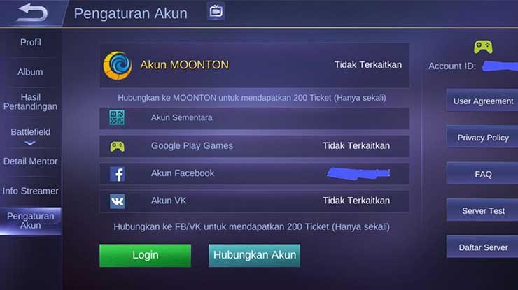 Pilih Google Play Games sebagai akun Mobile Legend