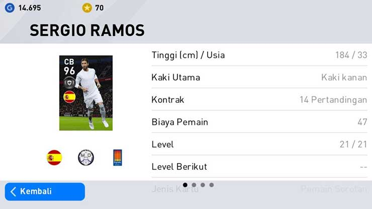Sergio Ramos ( Bek Real Madrid PES Android 2020 )