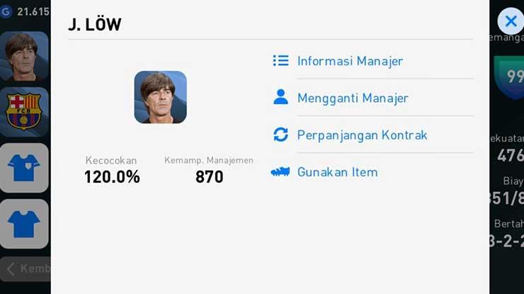 Tap ikon Manager di sebelah kiri atas Mengganti Manager