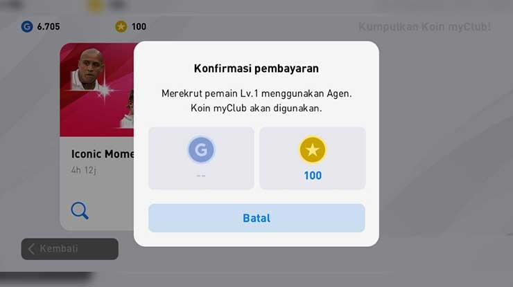 Fungsi Koin MyClub di PES Mobile 2020