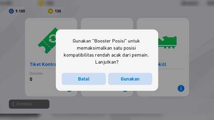Pilih Booster Posisi Gunakan