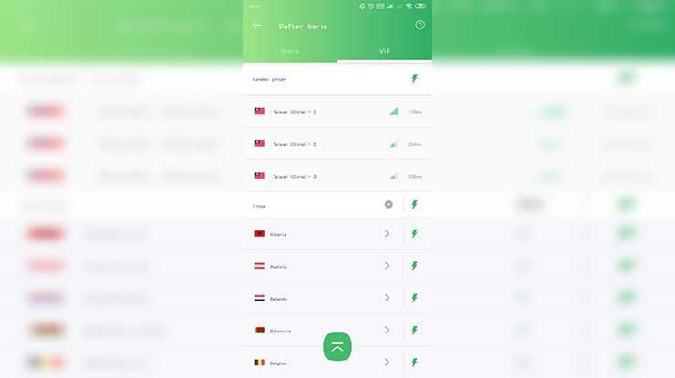 Pilih server Taiwan China