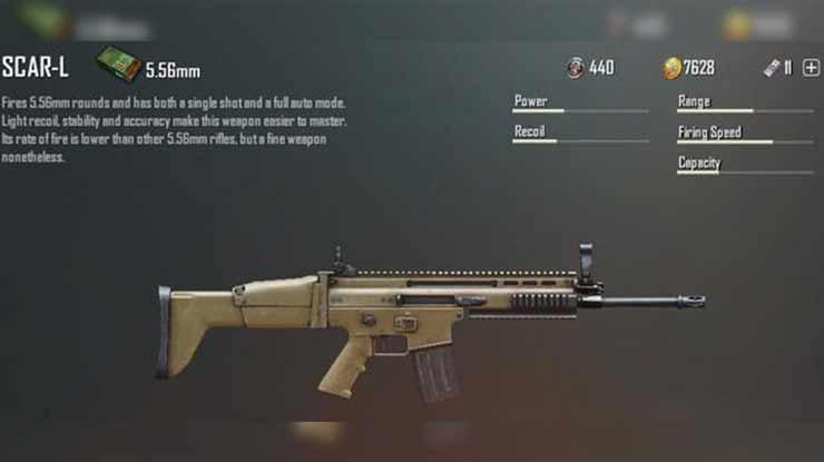 Statistik Senjata Scar L di PUBG Mobile