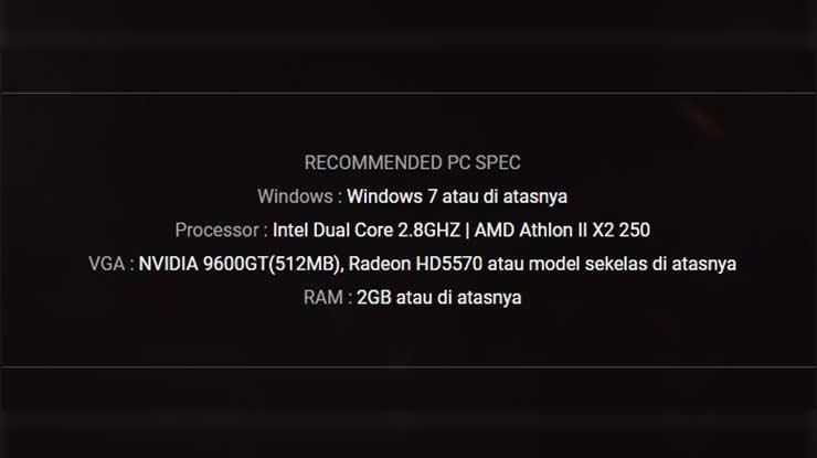 Spesifikasi Minimum Untuk Main PB di PC dan Laptop