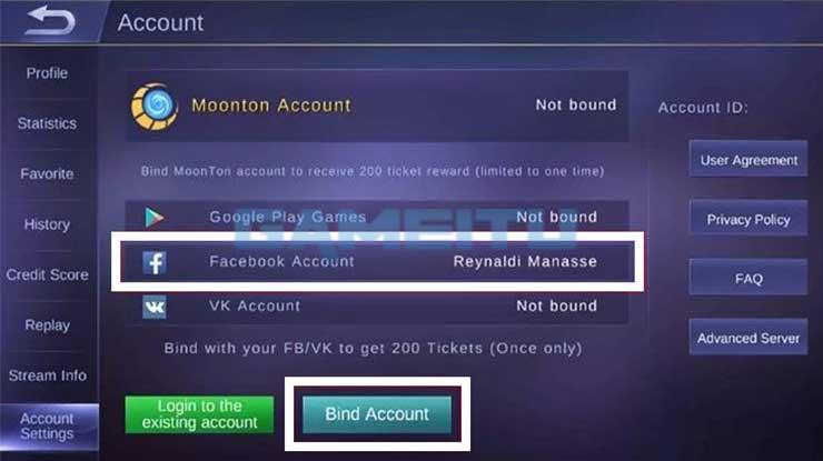 Pilih Bind Account