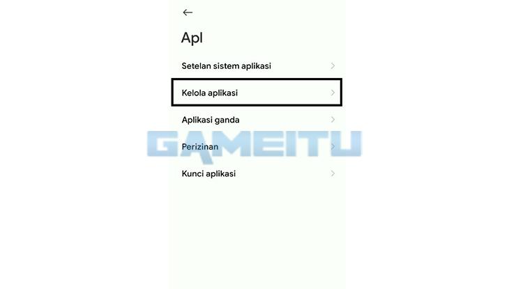Tap Kelola Aplikasi