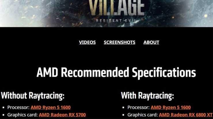 Spek PC Minimum Main Resident Evil Village