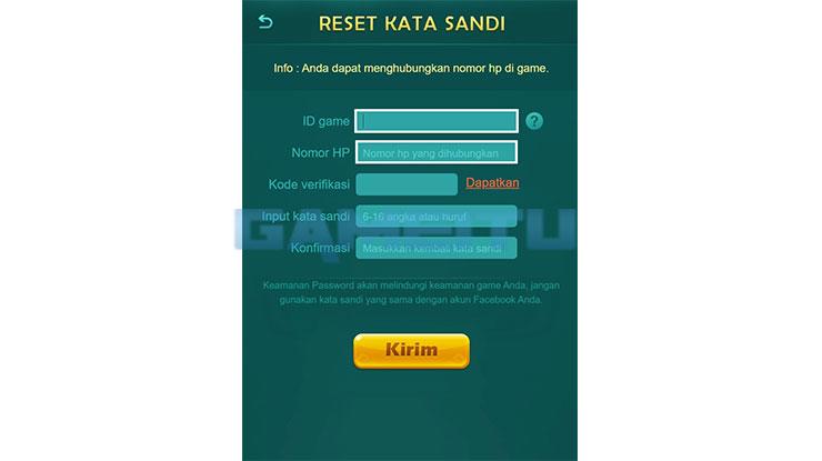 Input ID Pengguna Nomor HP