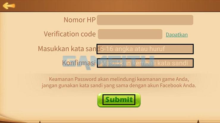 Input Password Baru