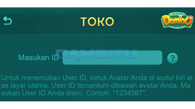 Masukkan User ID Higgs Domino