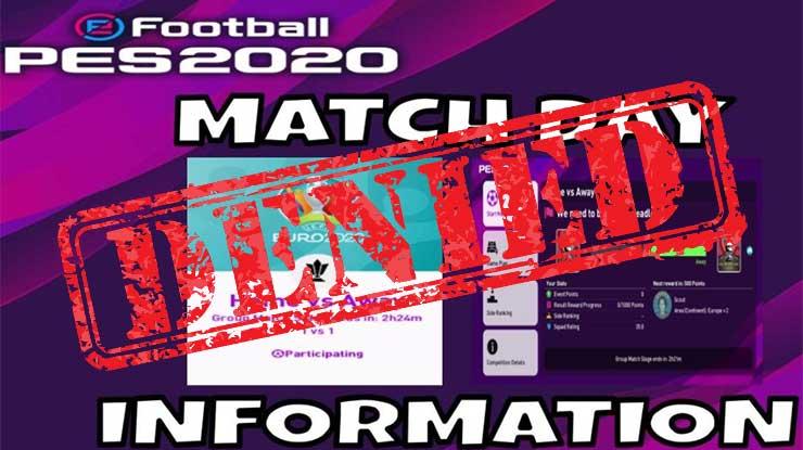 Penyebab Tidak Bisa Buka Event Matchday PES Mobile