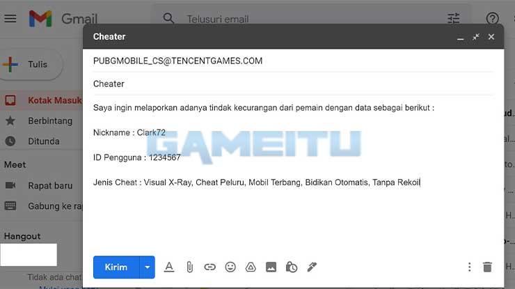 Cara Melaporkan Cheater PUBG via Email