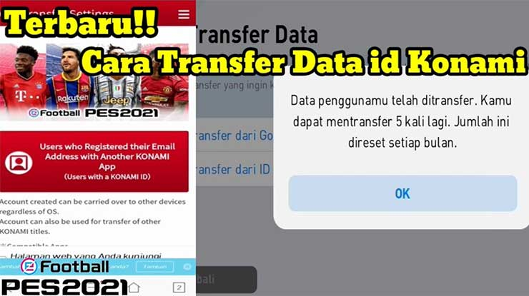 Cara Transfer Data PES 2021 Mobile