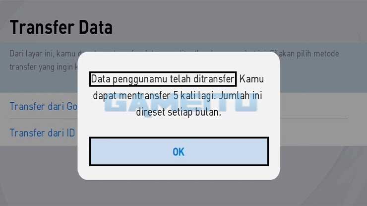 Transfer Data Berhasil