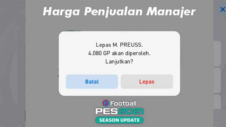 Harga Penjualan Manajer PES 2021 Mobile