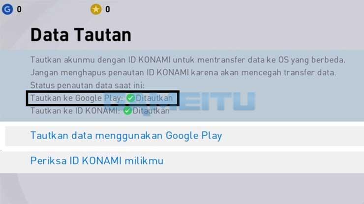 Menautkan Akun ke Google Play Berhasil