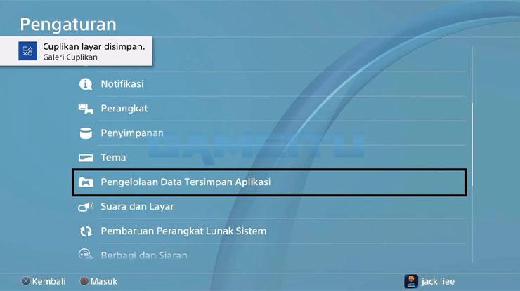 Pilih Pengelolaan Data Tersimpan Aplikasi